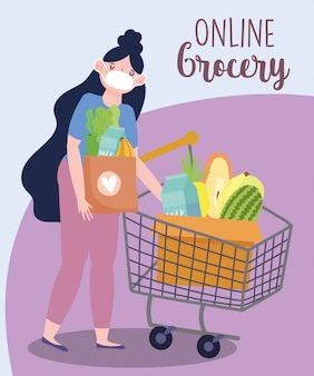 Online market, woman with mask and shopping cart and basket, food delivery in grocery store