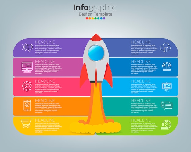Online marketing concept. banner with rocket, technology and social media.