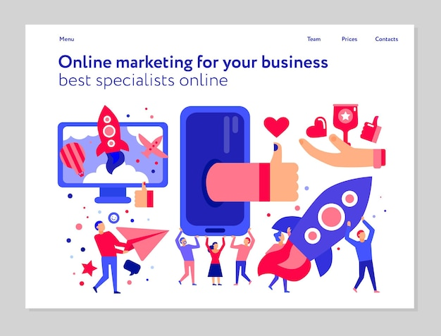 Online marketing concept with social media and internet advertising web banner on white flat illustration