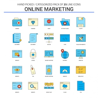 Online marketing flat line icon set