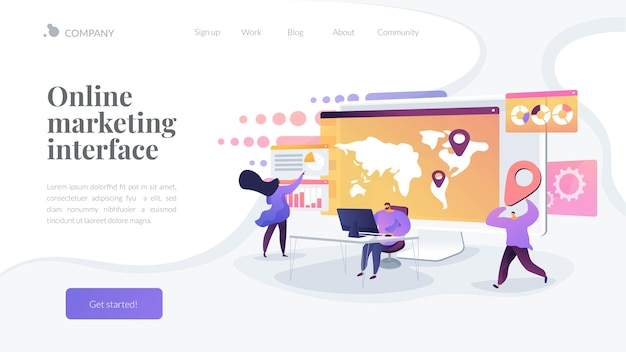 Online marketing interface landing page template