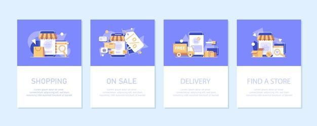 オンラインマーケティング 。インターネットビジネスプロセス、モバイルマーケティング、eマーケティング、eコマース、フラットなデザインアイコン