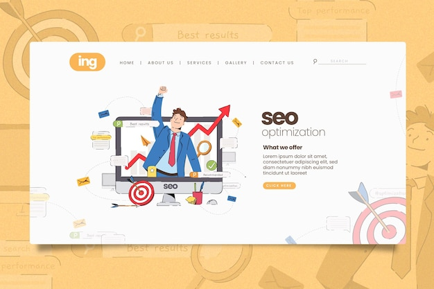 Online marketing landing page illustrated