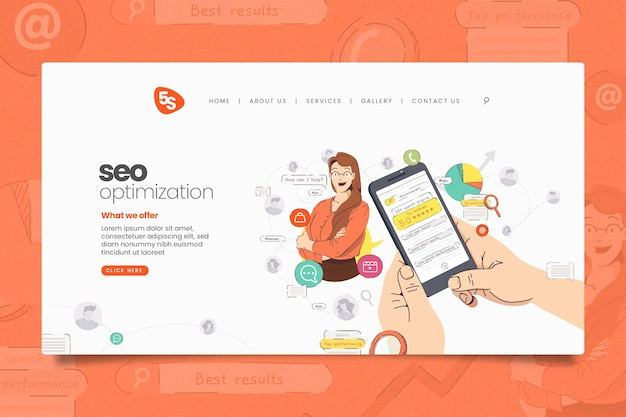 Online marketing landing page template illustrated