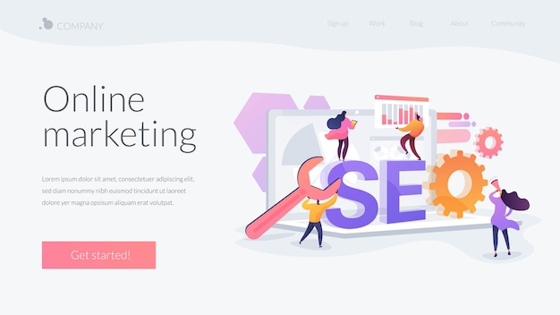 Online marketing landing page template