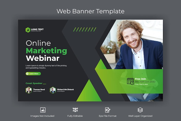 Online marketing webinar web banner and youtube thumbnail template