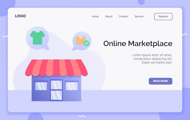 Концепция рынка онлайн-кампании для шаблона сайта посадки или домашней страницы website.modern плоский мультяшном стиле.