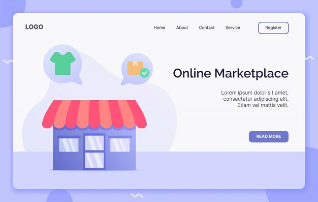 Online marketplace campaign concept for website template landing or home page website.modern flat cartoon style.