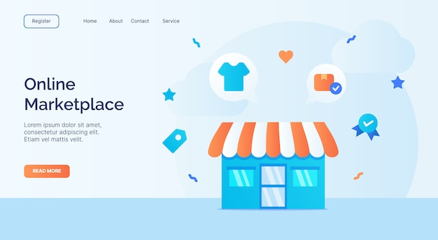 Online marketplace exterior facade store icon campaign for web website home homepage landing template banner with cartoon flat style.