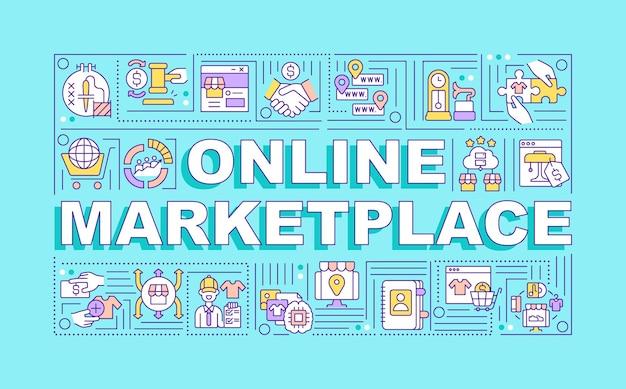 Баннер концепции слова онлайн рынка. удаленный бизнес.