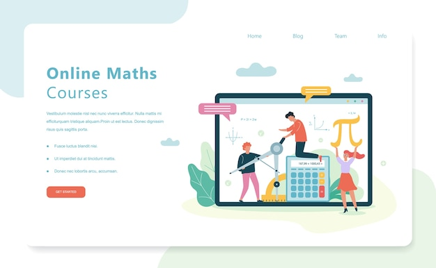 Online math courses web banner concept. school subject