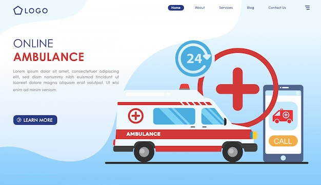 Online medical ambulance website in flat style