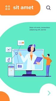 オンライン医療支援ベクトルイラスト。医師に相談するためのスマートフォンアプリを使用している男性