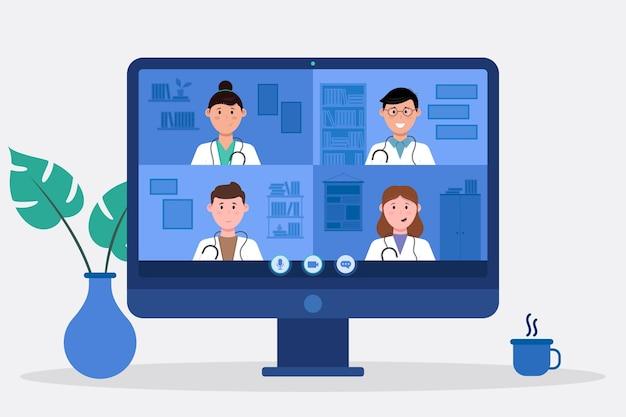 Design piatto conferenza medica online