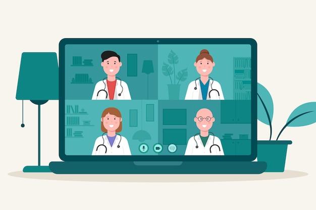 Онлайн-медицинская конференция плоская иллюстрация