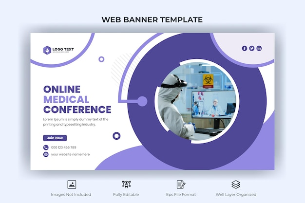 Online medical conference web banner and youtube thumbnail template