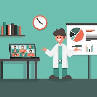 Conferenza medica online con laptop