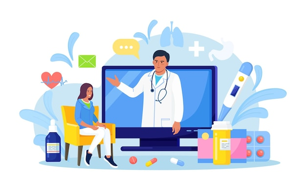 オンライン医療相談とサポート。医者に聞いてください。コンピューターの画面に聴診器を持つ医師。ビデオ会議、自宅での電話会議。セラピストの任命。遠隔医療