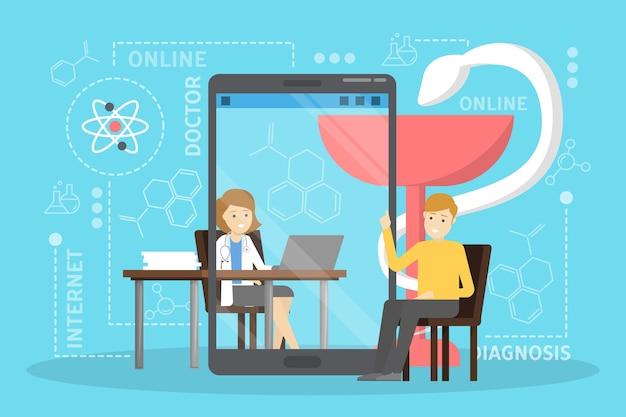 Концепция медицинской консультации онлайн. идея цифрового