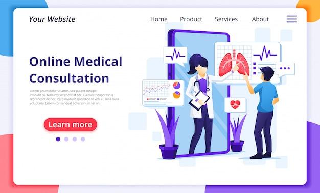 Онлайн концепция медицинской консультации, онлайн иллюстрация помощи здравоохранения. шаблон оформления целевой страницы сайта