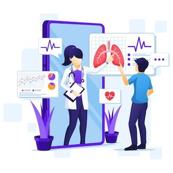 オンライン医療相談の概念、オンライン医療支援イラスト