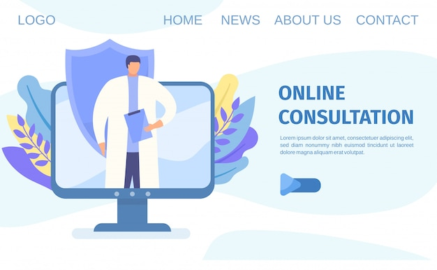 Online medical consultation and diagnosis via mobile telephone app telemedicine concept flat illustration.