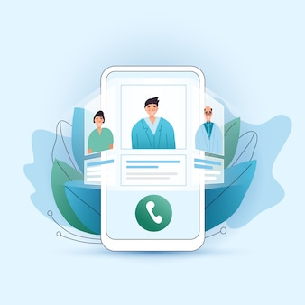 Online medical consultation flat concept. choose your doctor, therapist in your smartphone. phone screen with choosen therapist and online session. online medical advise tele medicine.