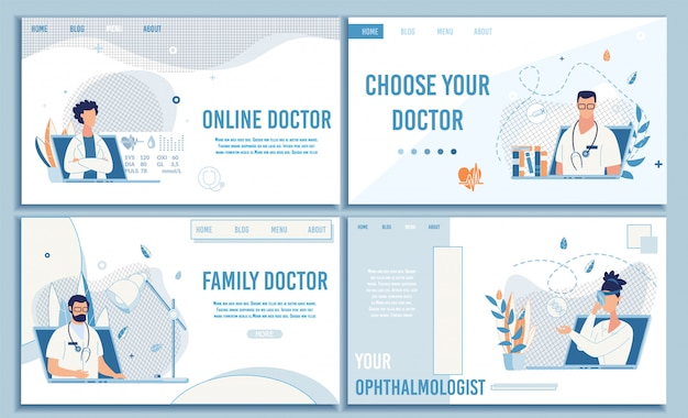 Online medical consultation flat landing page set