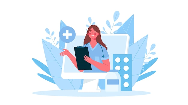 평면 디자인의 온라인 의료 상담
