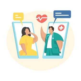온라인 의료 상담. 모바일 응용 프로그램을 사용하여 여성 환자와 의사 소통하는 남성 심장 전문의. 원격 의료, 원격 의료 개념입니다. 온라인 의사 진단. 평면 벡터 일러스트 레이 션