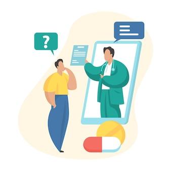 온라인 의료 상담. 환자와 의사 소통하는 남성 치료사가 있는 스마트폰 화면. 원격 의료, 원격 의료. 원격으로 온라인 의사 진단. 평면 벡터 일러스트 레이 션