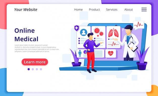 Онлайн концепция медицинской диагностики, онлайн иллюстрация медицинской помощи. шаблон оформления целевой страницы сайта