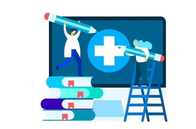 Online medical education illustration