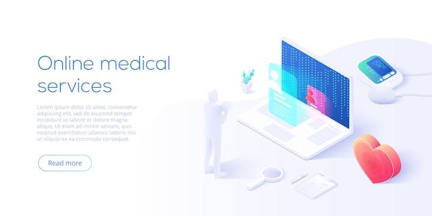 Концепция онлайн-медицинских услуг на изометрической целевой странице