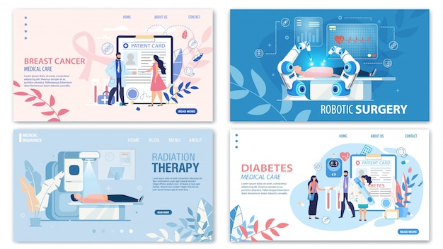 Online medical services flat landing page set