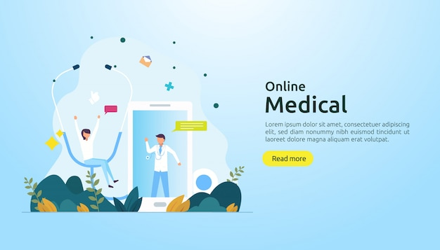 Online medical support advice or doctor health care service concept with people character