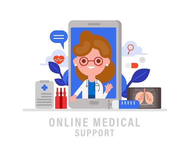 オンライン医療サポートの概念図。スマートフォンの画面でオンラインの女医。フラットなデザインスタイルのベクトルの漫画。