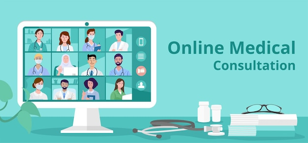 Online medical video conference with team of doctors and nurses