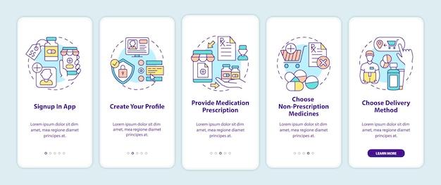 온라인 약물 주문 단계는 모바일 앱 페이지 화면 개념을 온 보딩합니다. 앱에 가입하여 5 단계 그래픽 지침을 살펴보세요. rgb 색상 삽화가있는 ui 템플릿