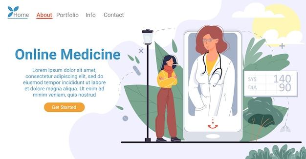 スマートフォンのランディングページのデザインで手頃な価格のオンライン医療。携帯電話の画面で医師から検査結果を得る熱に苦しんでいる病気の女性患者。開業医とのビデオ通話
