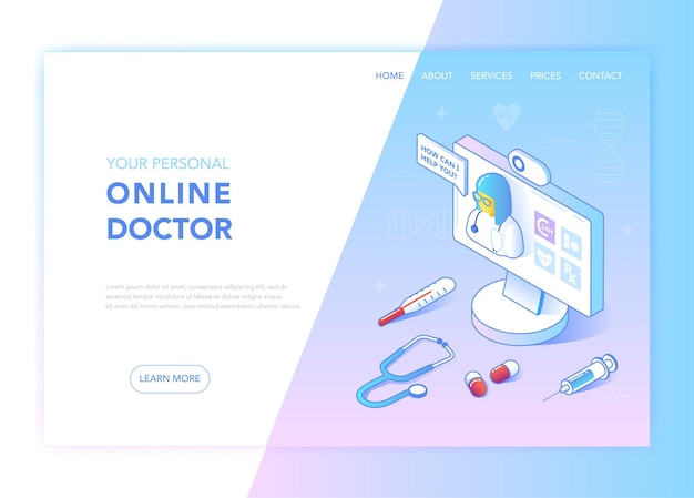 Интернет-медицина и здравоохранение плоский изометрический дизайн концепции. медицинские услуги, шаблон целевой страницы аптеки. макет веб-страницы консультации по вопросам здоровья. векторная иллюстрация