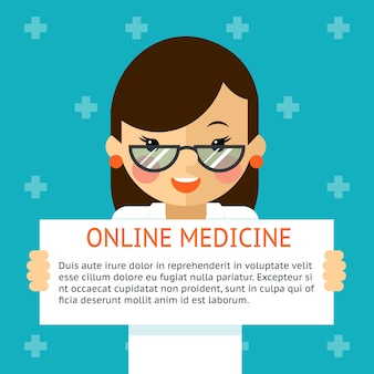 Online medicine banner. woman doctor shows text sign. health and diagnosis, hospital. vector illustration
