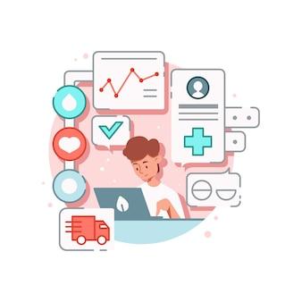 Композиция онлайн-медицины с персонажем парня, отслеживающего заказы с лекарствами