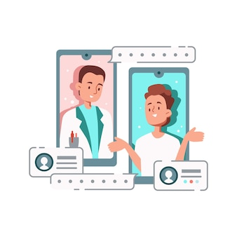 Композиция онлайн-медицины с персонажами врача и пациента, общающимися через смартфоны
