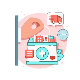 Online medicine composition with hand holding first aid box full of drugs with delivery sign