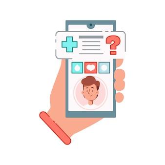 Композиция онлайн-медицины с изображением смартфона с медицинским приложением