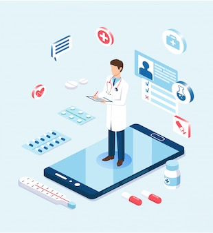 Online medicine concept. doctor on giant smartphone making notes on tablet.