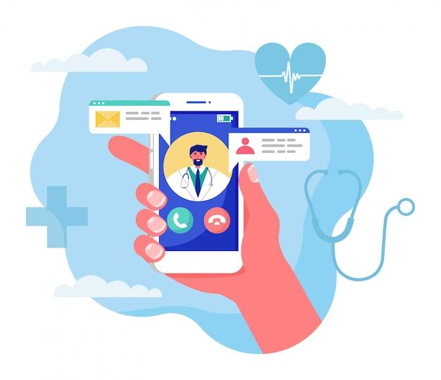 Иллюстрация концепции медицины онлайн, мультфильм человеческая рука смартфон с видео звонок врачу на белом