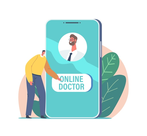 Online medicine concept. tiny male character push button to call doctor via internet on huge smartphone screen