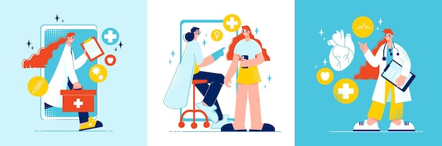 Концепция дизайна онлайн-медицины с квадратными композициями, медицинскими пиктограммами, смартфонами и персонажами пациентов и врачей